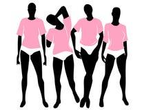Bloomers cor-de-rosa dos t-shirt das mulheres ilustração do vetor