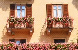 Blooming balconies Royalty Free Stock Photo