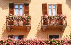 Blooming balconies royalty free stock photo