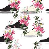A blooming beautiful pink flowers in sneakers used as pots deco. Ratingin seamless pattern vector on white blackground stock illustration