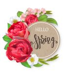 Blooming bouquet, floral vector frame Royalty Free Stock Images