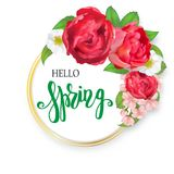 Blooming bouquet, floral vector frame Royalty Free Stock Photo