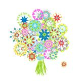 Blooming bouquet made from floral arabesque Stock Images
