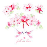 Blooming bouquets, birds and bows vector design elements set Royalty Free Stock Images