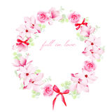 Blooming bouquets with bows vector design frame Stock Photos