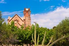 Blooming cactus against the blue sky and church Ermita Mare de Deu de la Riera, Tarragona, Catalunya, Spain. Stock Photos