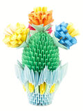 Blooming cactus in a pot. Origami. Royalty Free Stock Photography