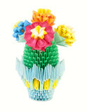 Blooming cactus in a pot. Origami. Royalty Free Stock Photos
