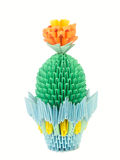 Blooming cactus in a pot. Origami. Stock Photography