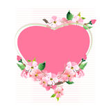 Blooming cherry. Greeting card with heart and sakura flowers. Ve Stock Image