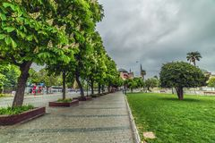 Blooming chestnut trees and view of Aya Sofia. ISTANBUL, TURKEY: Blooming chestnut trees and view of Aya Sofia, view from the Sultanahmet Park in spring time on stock photography