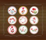 Blooming circle tags Royalty Free Stock Images