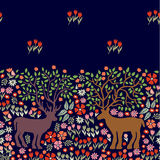 Blooming deers. Seamless vector border with fantasy animals and trees. Stock Photography