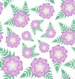 Blooming fern. Flowering fern pattern flowers pink  hand painted vector seamless Stock Image