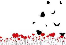 Blooming field with red hearts and flying black silhouettes of butterflies isolated on white. Background. Valentine day fantasy postcard with copy space, flat Royalty Free Stock Photography