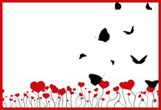 Blooming field with red hearts, frame and flying black silhouettes of butterflies on white. Blooming field with red hearts, flying black silhouettes of Stock Images
