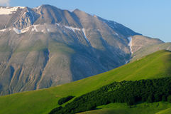 Blooming fields of Castelluccio di Norcia. Flowering high mountain national park mountains sibillini - Castelluccio di Norcia Royalty Free Stock Photos