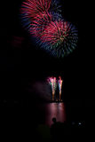Blooming firework of international firework festival. By mixed color style Stock Photo