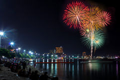 Blooming firework mixed color of celebration night Stock Photo