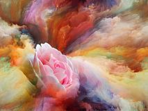 Color Bloom. Blooming flower in foam of colorful paint as backdrop for subject of art, creativity and imagination. Custom background series royalty free illustration