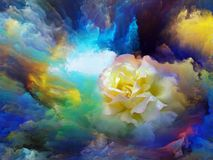 Color Bloom. Blooming flower in foam of colorful paint as backdrop for subject of art, creativity and imagination. Custom background series stock illustration