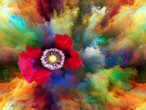 Color Bloom. Blooming flower in foam of colorful paint as backdrop for subject of art, creativity and imagination. Custom background series vector illustration