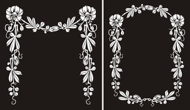 Blooming flower frame, black & white border Stock Photography