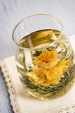 Blooming Flower Hot Green Tea Royalty Free Stock Image