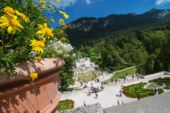 Blooming flowers in the garden of Linderhof Royalty Free Stock Photo