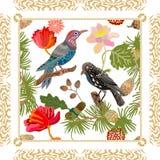Golden Japanese garden. Silk scarf pattern with Victorian motifs. vector illustration