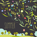 Blooming flowers with summer landscape. Vector illustration Royalty Free Stock Photography