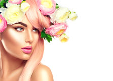 Blooming flowers wreath on woman`s head royalty free stock photos