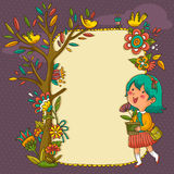 Blooming frame royalty free illustration
