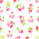 Blooming fuchsia, cupcakes and roses seamless vector print Royalty Free Stock Images