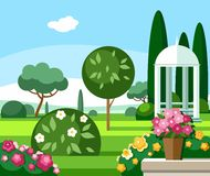 A blooming garden with a white gazebo, coloured illustrations. Stock Photos