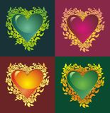 Blooming heart. Colorful glossy hearts with flowers Stock Photos