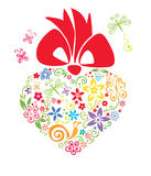 Blooming heart with bow. Vector illustration - floral heart with a red bow vector illustration