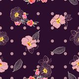 Blooming hibiscus flower mix with geometric daisy minimal repeat. Flower seamless pattern vector design for fashion, fabric, wallpaper, and all prints on purple royalty free illustration