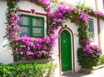 Blooming house in spain. This is a typical overgrown house at the harbour of Mogan, Gran Canaria in Spain. the whole harbour is very well-kept and beatiful stock photo