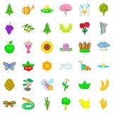 Blooming icons set, cartoon style. Blooming icons set. Cartoon style of 36 blooming vector icons for web isolated on white background Royalty Free Stock Photography