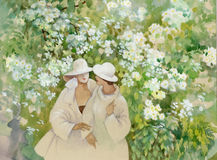 Blooming jasmine and girls. Beautiful royalty free illustration