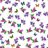 Blooming lilac flower. Very high quality original trendy vector seamless pattern with blooming lilac and iris flower. Spring or summer design Stock Photos