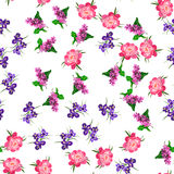 Blooming lilac flower. Very high quality original trendy vector seamless pattern with blooming lilac, peony and iris flower. Spring or summer design Stock Image
