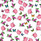 Blooming lilac flower. Very high quality original trendy vector seamless pattern with blooming lilac and peony flower. Spring or summer design Royalty Free Stock Image