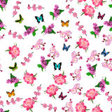 Blooming lilac flower. Very high quality original trendy vector seamless pattern with blooming lilac and peony flower. Spring or summer design Stock Photos