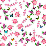 Blooming lilac flower. Very high quality original trendy vector seamless pattern with blooming lilac and peony flower. Spring or summer design Stock Photo