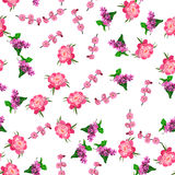 Blooming lilac flower. Very high quality original trendy vector seamless pattern with blooming lilac and peony flower. Spring or summer design Royalty Free Stock Images