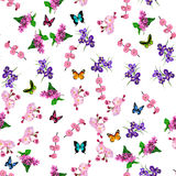 Blooming lilac flower. Very high quality original trendy vector seamless pattern with blooming lilac, plum and iris flower. Spring or summer design Royalty Free Stock Photo
