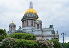 Blooming lilacs against the background of St. Isaac's Cathedral Royalty Free Stock Photography