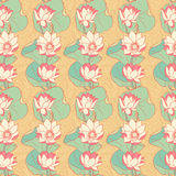 Blooming lilies. Beautiful seamless pattern with blooming lilies on an orange background Stock Photography